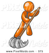 Clipart of a Helping Orange Man Wearing a Tie, Using a Mop While Mopping a Hard Floor to Clean up a Mess or Spill by Leo Blanchette