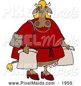 Clipart of a Hideously Fat Female Cow on a Shopping Spree by Djart