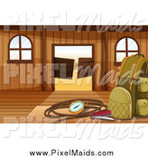Clipart of a Hiking Bag and Gear in a Western Saloon by Graphics RF