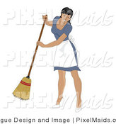 Clipart of a Hispanic Maid Smiling and Sweeping by Pams Clipart