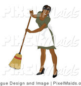 Clipart of a Hispanic Maid Sweeping by Pams Clipart