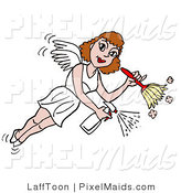 Clipart of a Housekeeper Fairy Flying, Spraying and Using a Duster to Clean by LaffToon