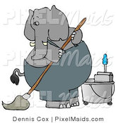 Clipart of a Human-like Gray Elephant Janitor Cleaning and Mopping a Floor by Djart