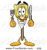 Clipart of a Hungry and Happy Broom Mascot Cartoon Character Holding a Knife and Fork by Toons4Biz