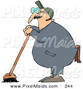 Clipart of a Industrial Janitor Leaning on a Push Broom on White by Djart