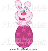 Clipart of a Joyful Pink Easter Bunny Sitting on a Star Egg by Hit Toon