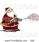 Clipart of a Kris Kringle Spraying Candy Canes out of a Pressure Washer on White by Djart