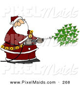Clipart of a Kris Kringle Spraying Christmas Trees out of a Pressure Washer on White by Djart