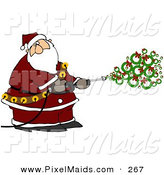 Clipart of a Kris Kringle Spraying Christmas Wreaths out of a Pressure Washer by Djart
