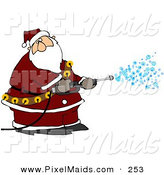 Clipart of a Kris Kringle Spraying Snow out of a Pressure Washer and Looking Right by Djart