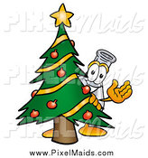 Clipart of a Laboratory Flask Beaker Waving Behind a Christmas Tree by Toons4Biz