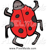 Clipart of a Ladybug from Above by Lineartestpilot