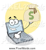 Clipart of a Laptop Character Holding a Money Sack by Hit Toon