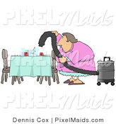 Clipart of a Lazy House Wife or Maid Using a Vacuum to Suck Everything off the Dinner Table so She Doesn't Have to Clean by Djart
