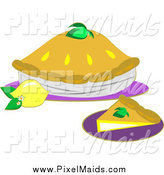 Clipart of a Lemon Pie and Slice with Fruit by