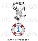 Clipart of a Lemur Doing a Hand Stand on an I Information Life Buoy by Graphics RF