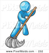 Clipart of a Light Blue Businessman Wearing a Tie, Using a Mop While Mopping a Hard Floor to Clean up a Mess or Spill by Leo Blanchette