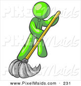 Clipart of a Lime Green Businessman Wearing a Tie, Using a Mop While Mopping a Hard Floor to Clean up a Mess or Spill by Leo Blanchette