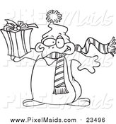 Clipart of a Lineart Christmas Penguin Holding a Gift by Toonaday