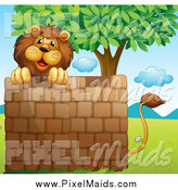 Clipart of a Lion over a Brick Wall Under a Tree by Graphics RF