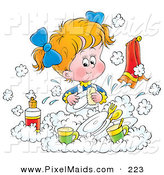Clipart of a Little Blond White Girl Happily Washing Dishes in a Soapy Kitchen Sink by Alex Bannykh