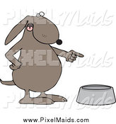 Clipart of a Mad Brown Dog Pointing to an Empty Food Bowl by Djart