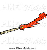 Clipart of a Magic Wand with a Red Hand by Lineartestpilot