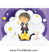 Clipart of a Magician with Rabbits and Clouds by Graphics RF