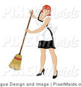 Clipart of a Maid with Red Hair Smiling and Sweeping by Pams Clipart