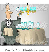 Clipart of a Male Butler Man Cleaning and Polishing Wine Glasses by Djart