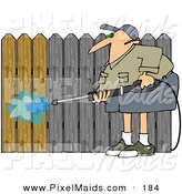 Clipart of a Male Pressure Washing a Wood Fence to Remove the Silvery Color by Djart
