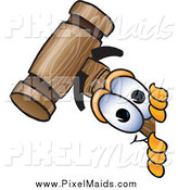 Clipart of a Mallet Character Peeking Around a Corner by Toons4Biz