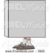 Clipart of a Man Hiding in a Box and Looking Left by Djart