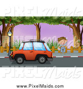 Clipart of a Mechanic Waving by a Red Car by Graphics RF