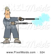 Clipart of a Mischievious Adult White Man in Blue Coveralls, Playing with Two Power Washer, or Pressure Washer, Nozzles and Spraying Them like Guns by Djart