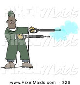 Clipart of a Mischievious Black Man in Green Coveralls, Playing with Two Power Washer, or Pressure Washer, Nozzles and Spraying Them like Guns by Djart