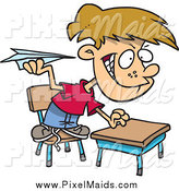 Clipart of a Mischievous Cartoon Caucasian School Boy Throwing Paper Planes in Class by Toonaday