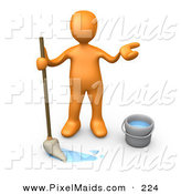Clipart of a Miserable Orange Man Mopping a Dirty Floor and Shrugging by 3poD