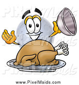 Clipart of a Moon Mascot with a Thanksgiving Turkey by Toons4Biz