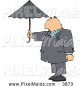 Clipart of a Office Businessman Standing Outside Under an Umbrella in Rainy Weather by Djart