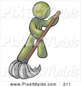 Clipart of a Olive Green Businessman Wearing a Tie, Using a Mop While Mopping a Hard Floor to Clean up a Mess or Spill by Leo Blanchette