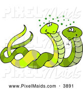 Clipart of a Pair of Male & Female Snakes Mating by Djart