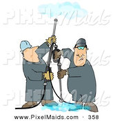 Clipart of a Pair of Men Using Pressure Washers to Clean Ceilings and Floors by Djart