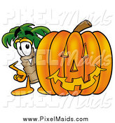 Clipart of a Palm Tree and Halloween Pumpkin by Toons4Biz