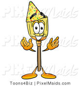 Clipart of a Partying Broom Mascot Cartoon Character Wearing a Birthday Party Hat by Toons4Biz