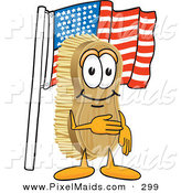 Clipart of a Patriotic Happy Scrub Brush Mascot Cartoon Character Pledging Allegiance to the American Flag by Toons4Biz