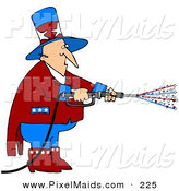 Clipart of a Patriotic Uncle Sam in Red, White and Blue, Using a Power Washer and Spraying out Stars on Tax Day or the Fourth of July by Djart