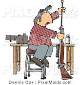 Clipart of a Person Cleaning Inside the Barrel of His Unloaded Rifle Gun by Djart