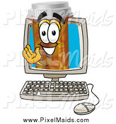 Clipart of a Pill Bottle Waving from Inside a Computer Screen by Toons4Biz