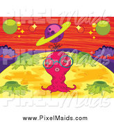 Clipart of a Pink Alien on a Foreign Planet by Graphics RF